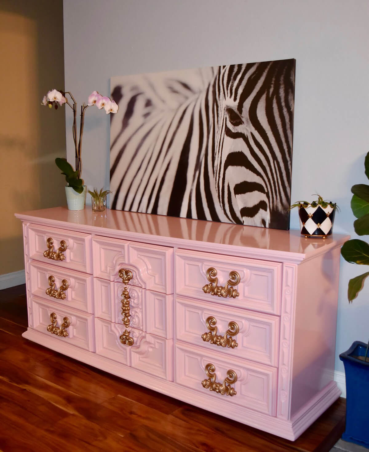 A Perfectly Pink and Chic Dresser Makeover