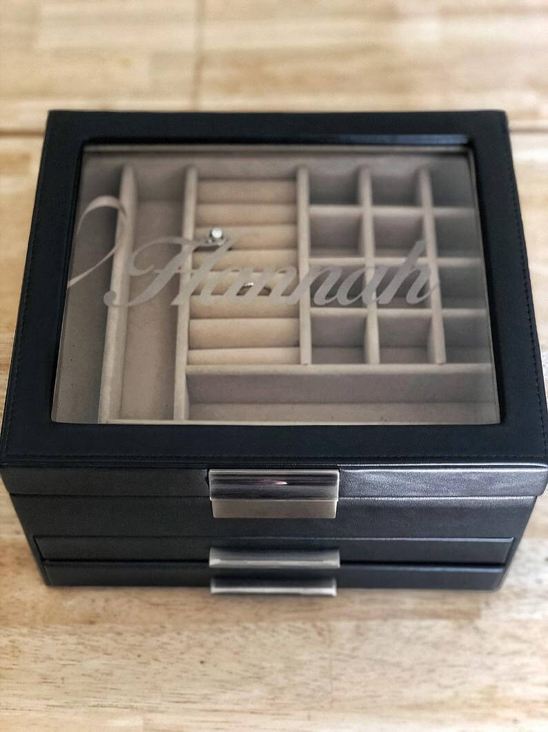 Multi-Functional Jewelry Organizer Box with Personalization