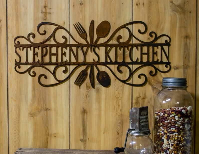 Personalized Metal Scrollwork Sign