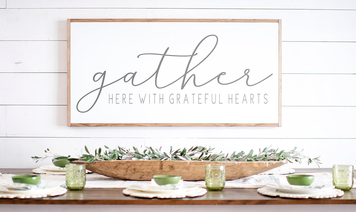 Gathering with Gratitude Framed Farmhouse Sign