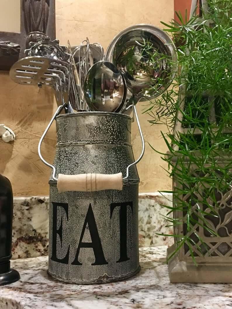 Practical Repurposed Kitchen Milk Can
