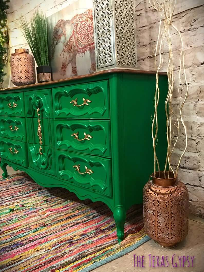 Gypsy Style French Dresser in Green and Gold