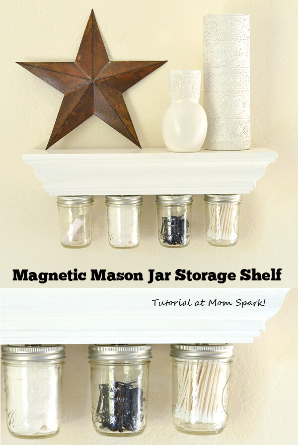 Magnetic Mason Jar Cotton Storage