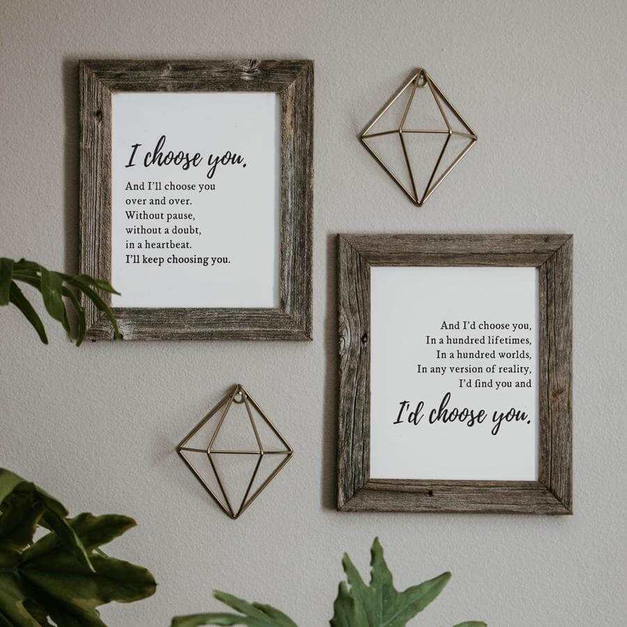 Distressed Wood Frame and Metal Gallery Wall