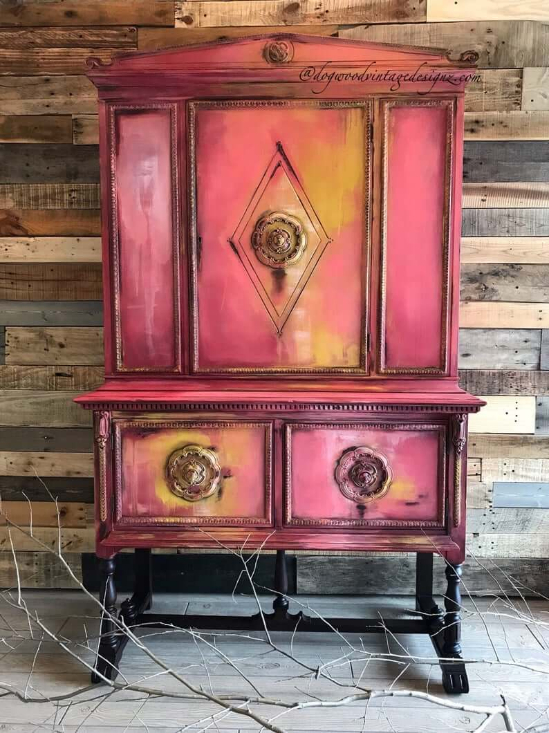 Vintage China Cabinet with Eclectic Paint Finish