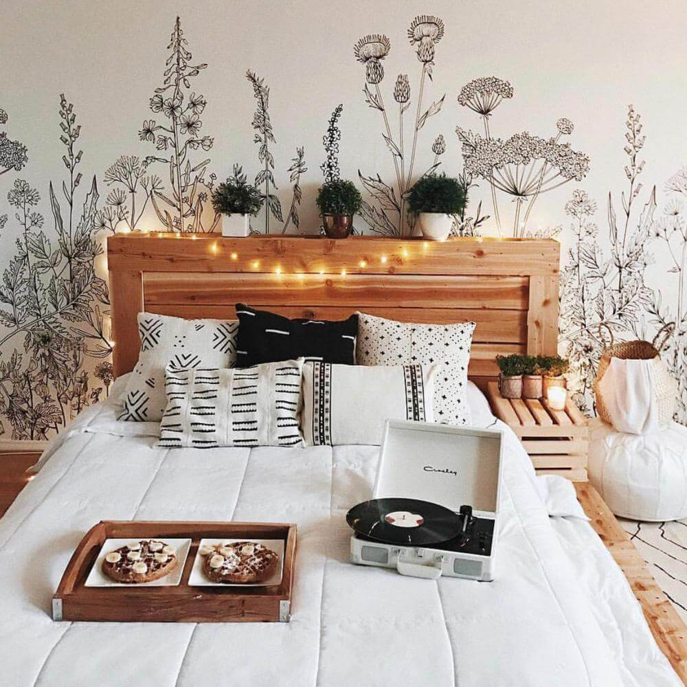 Beautiful Black and White Botanical Bedroom