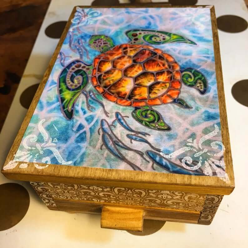 Sea Turtle Themed Jewelry Organizer with Mirror and Drawer