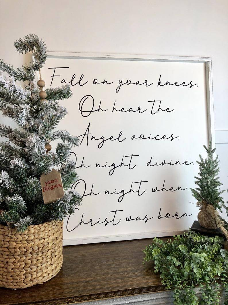 Delightful Holiday Handwritten Sign with Whitewashed Wood Frame