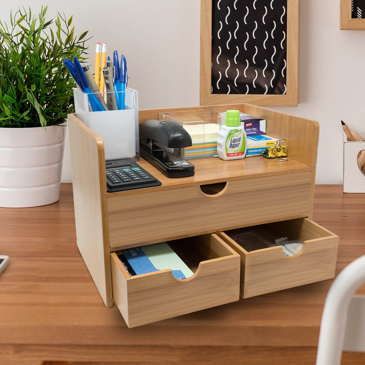 Utilitarian 3-Tier Bamboo Shelf Organizer