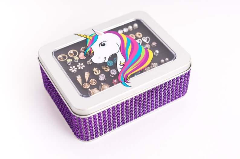 Purple Rhinestone Studded Jewelry Case