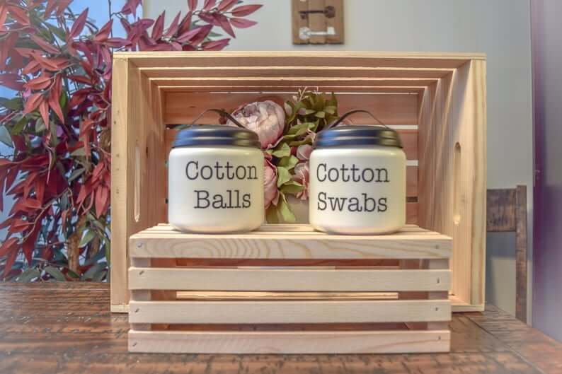 Adorable Painted Glass Cotton Jars