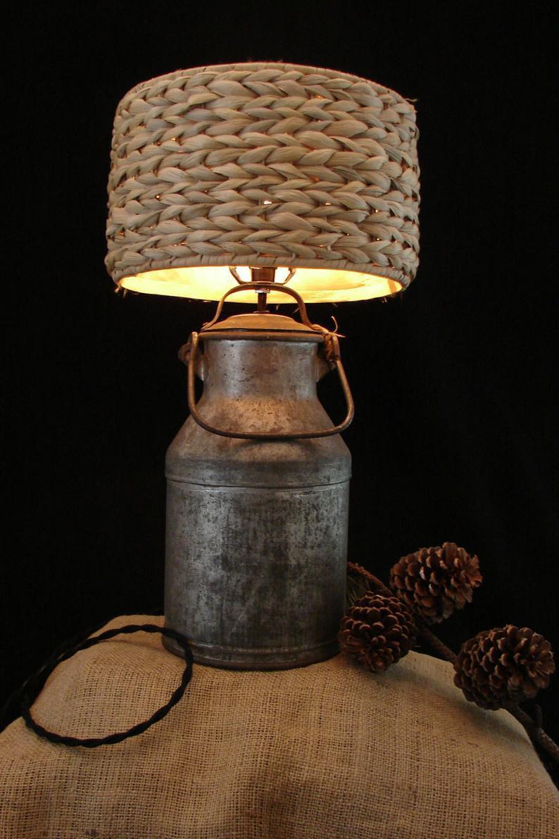 Beautiful Burlap and Wicker-Inspired Lamp