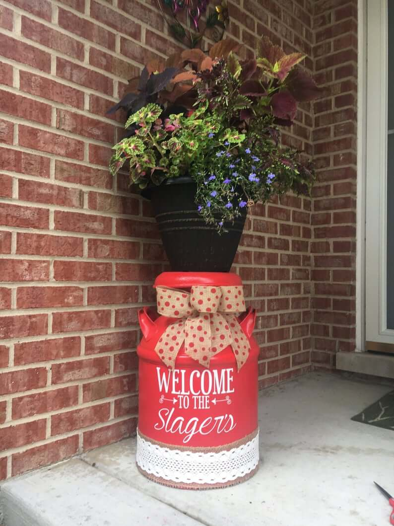 Pretty Painted Milk Can Porch Decor