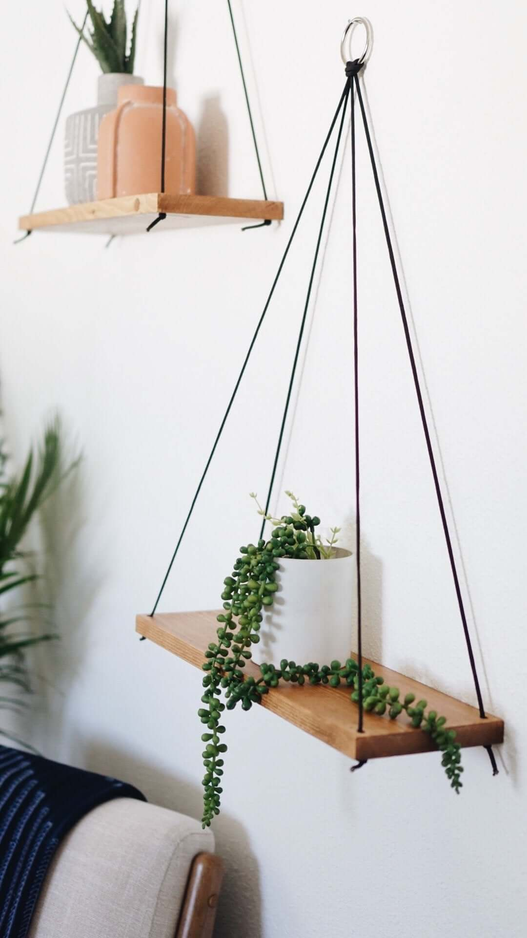 Natural Wood and Cord Hanging Shelf