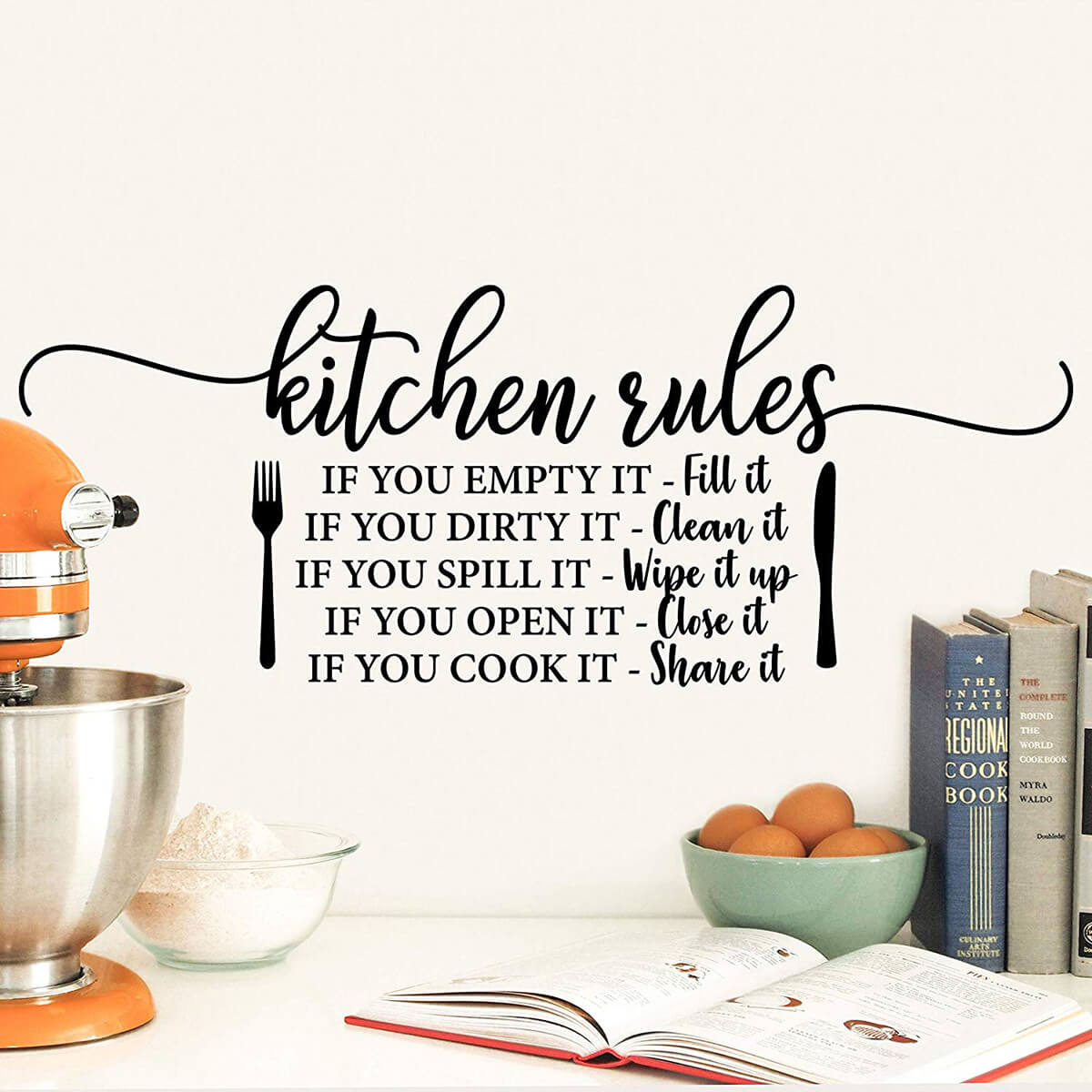 Kitchen Rules Vinyl Wall Decal