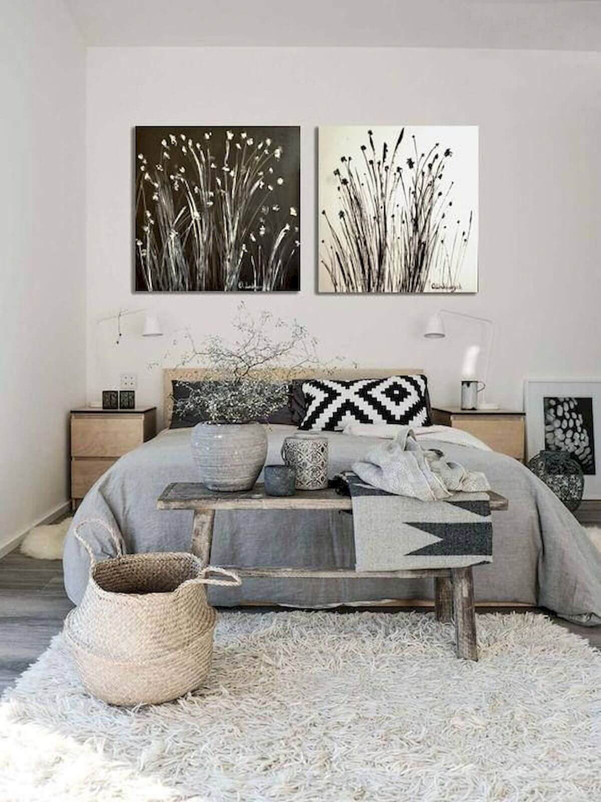 Grayscale Natural Bedroom Full of Texture