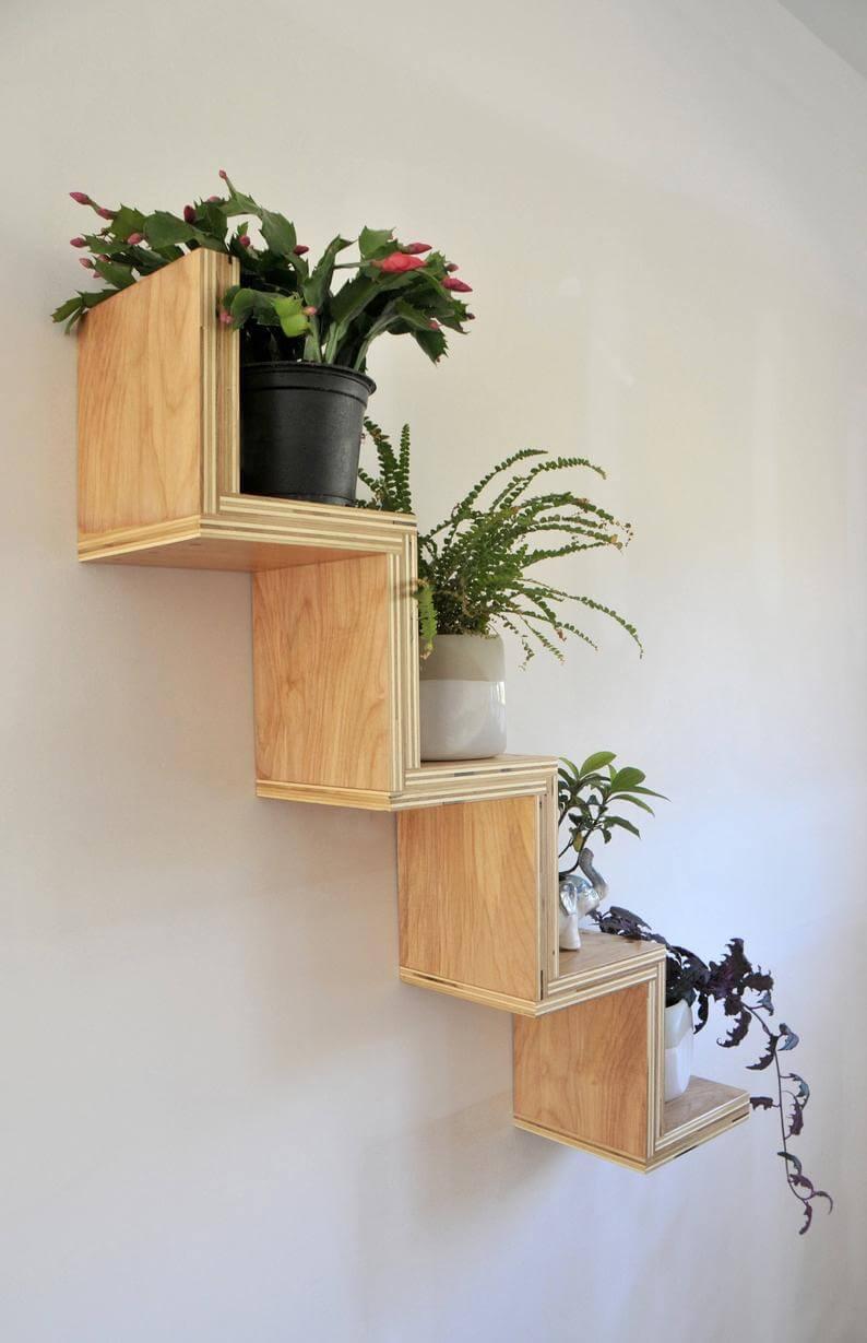 Playful Wooden Zig Zag Floating Shelf