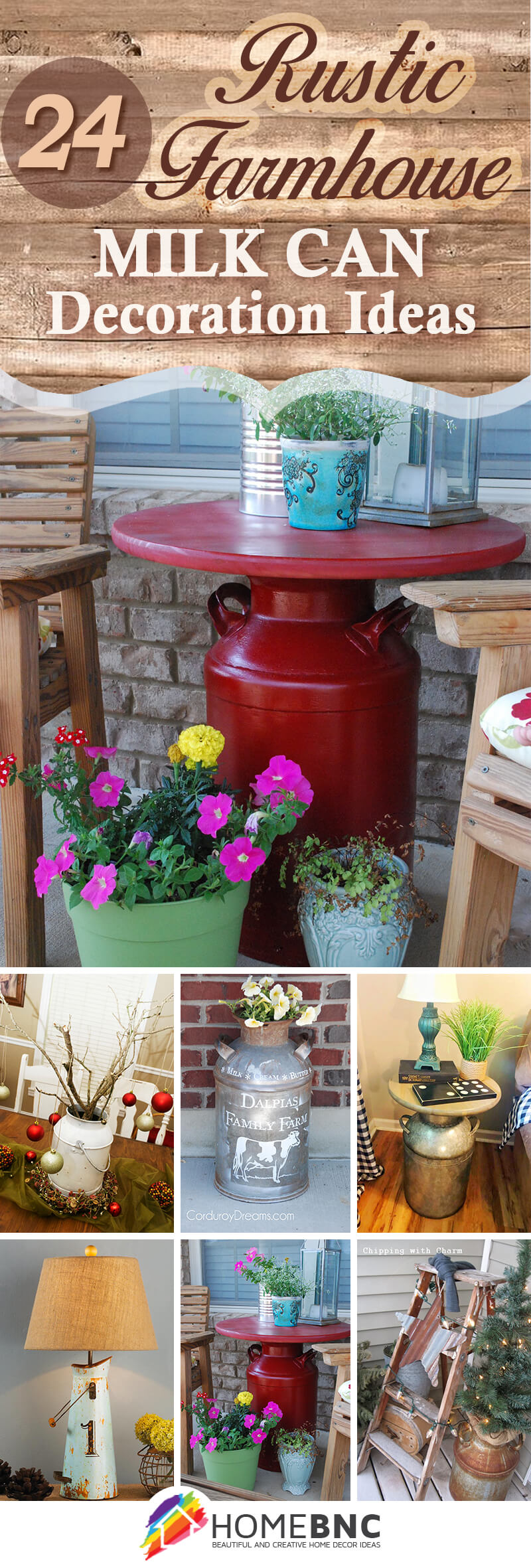 Rustic Farmhouse Milk Can Decorating Ideas