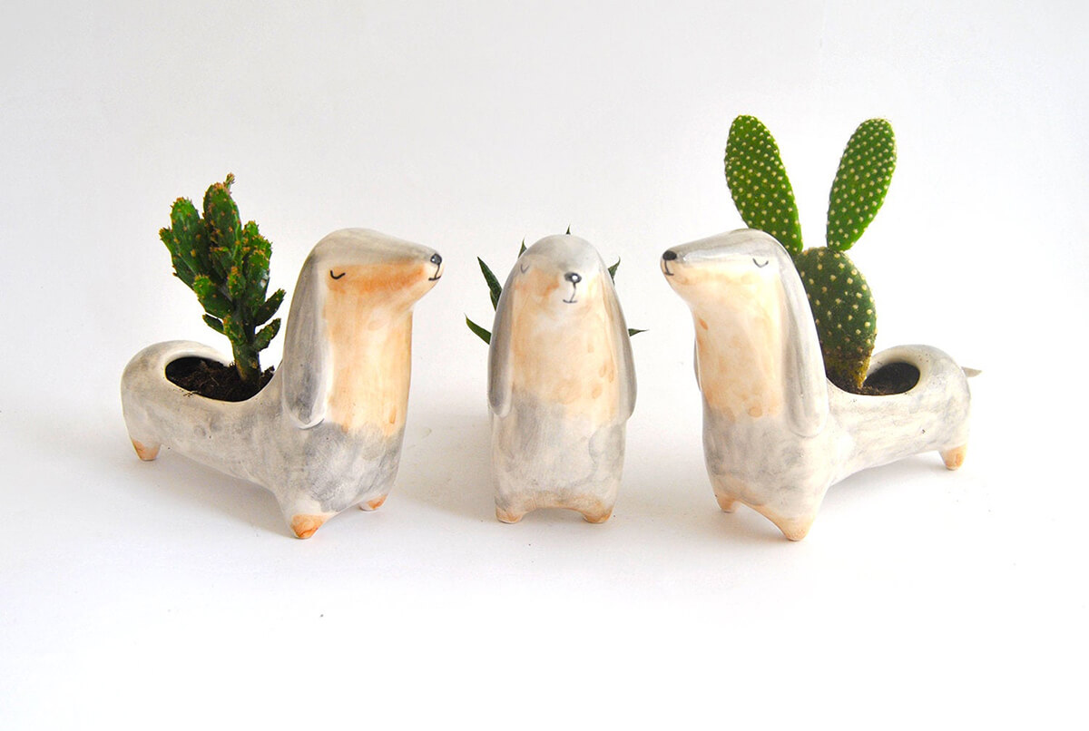 Cute Ceramic Dachshund Flower and Succulent Planter
