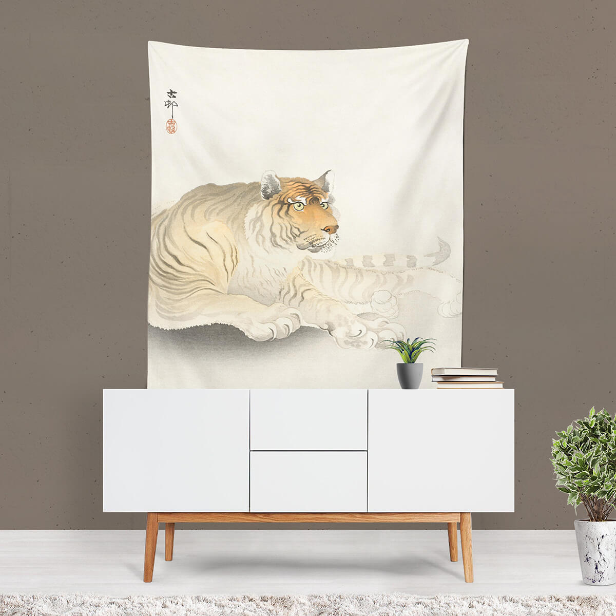 Bold Tiger Wall Tapestry Art