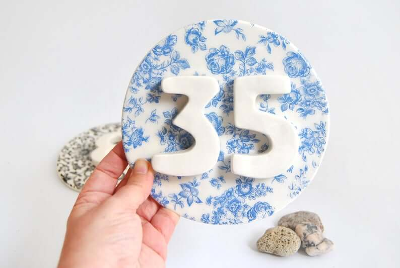 Colorful Ceramic House Number Plaque