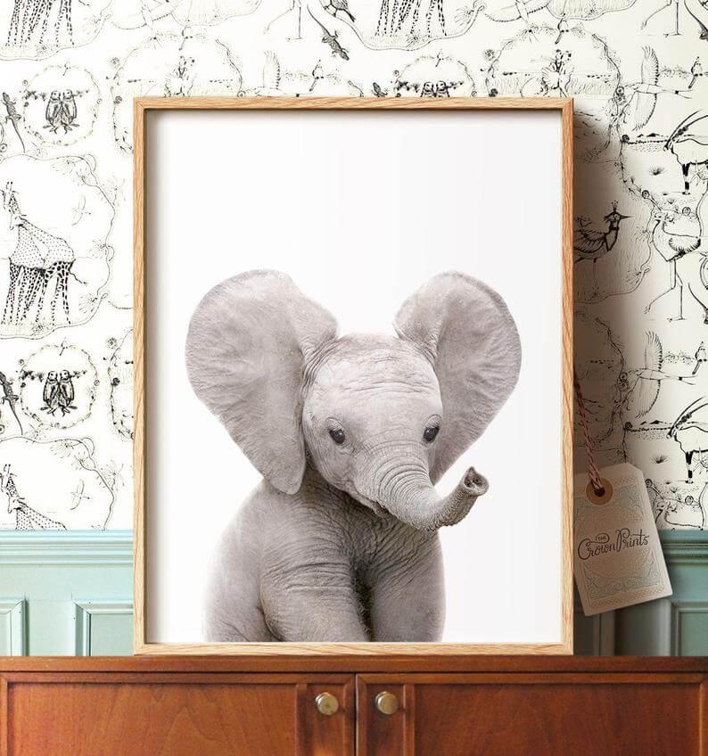 Cute Elephant Safari Nursery Art