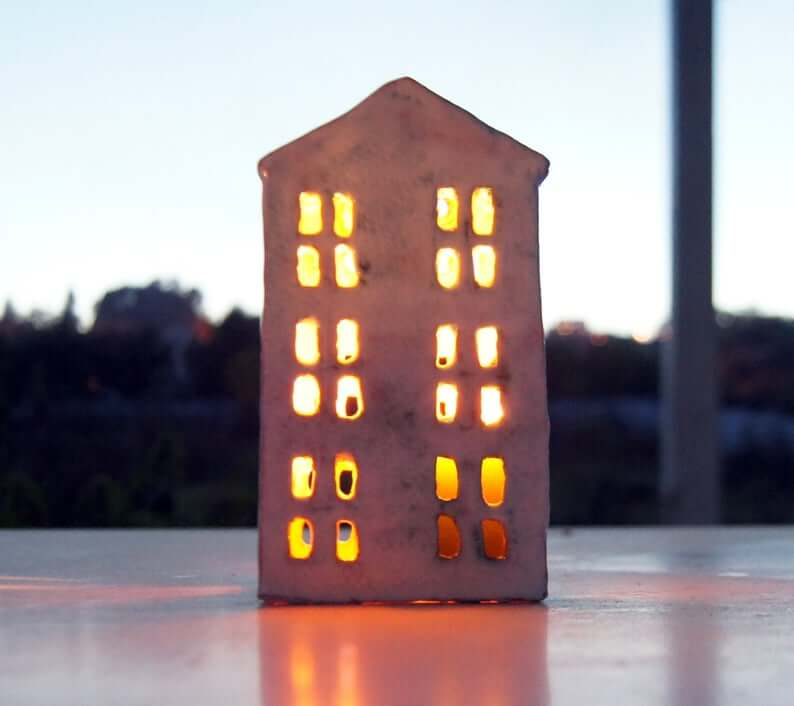 "Cozy Glowing Ceramic ""House"" Lantern"