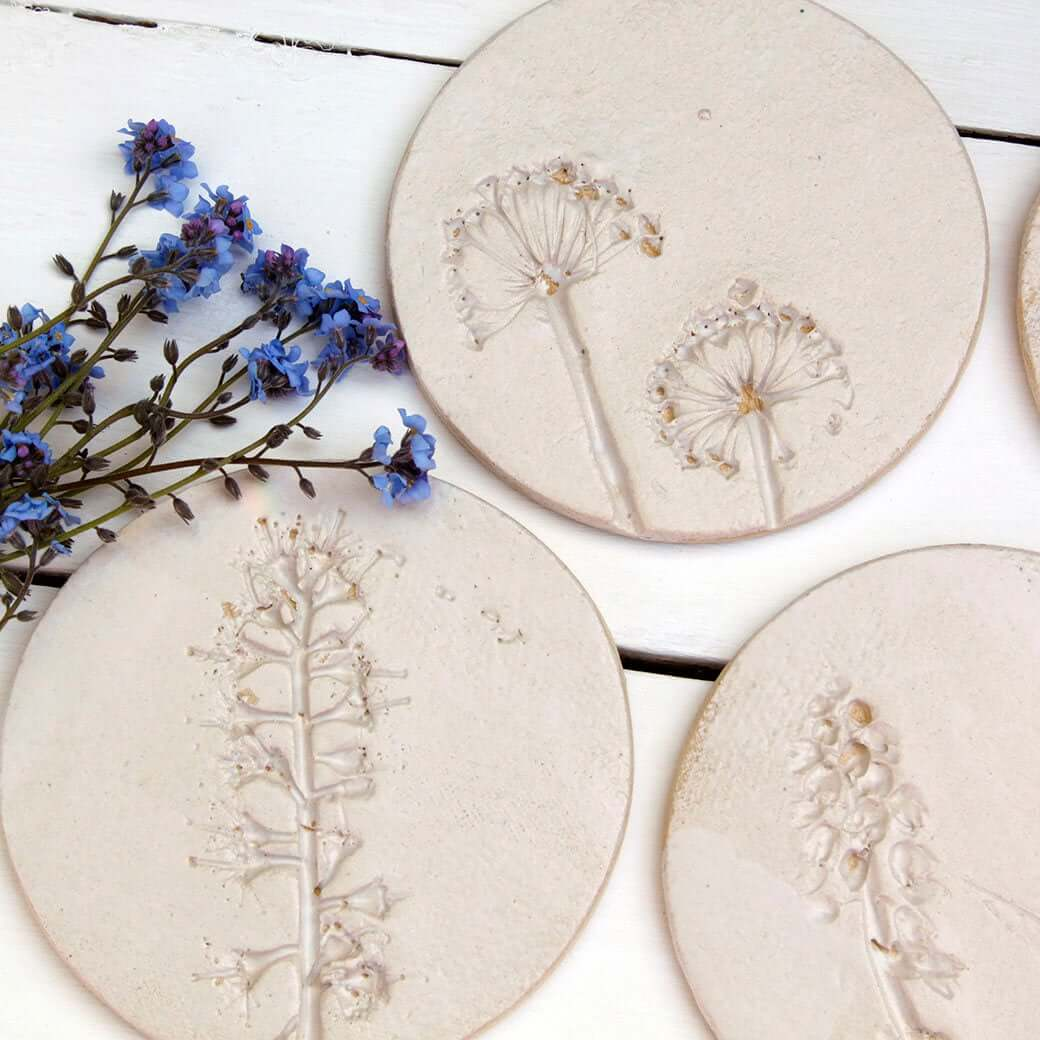 Whimsical Wild Flower Ceramic Coasters