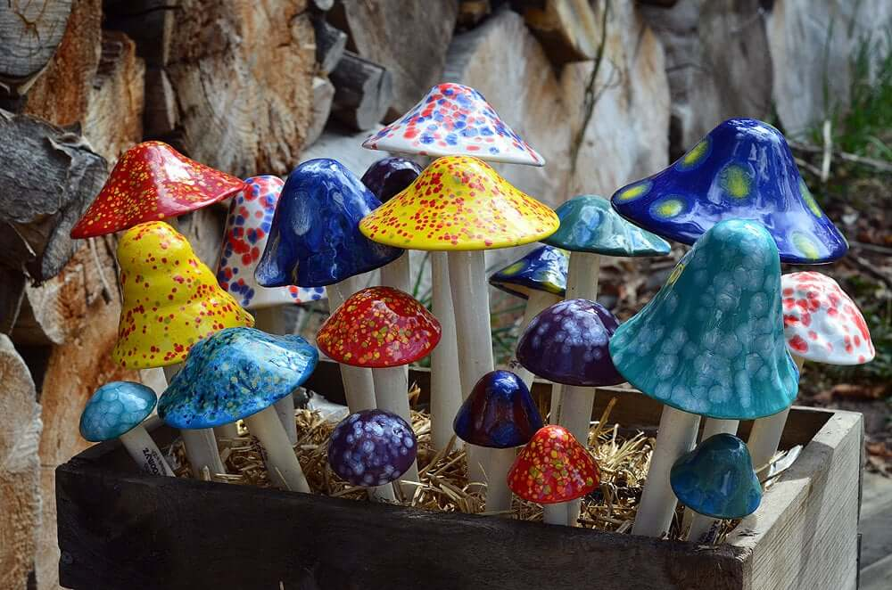 Bold and Vibrant Ceramic Mushroom Garden Stakes