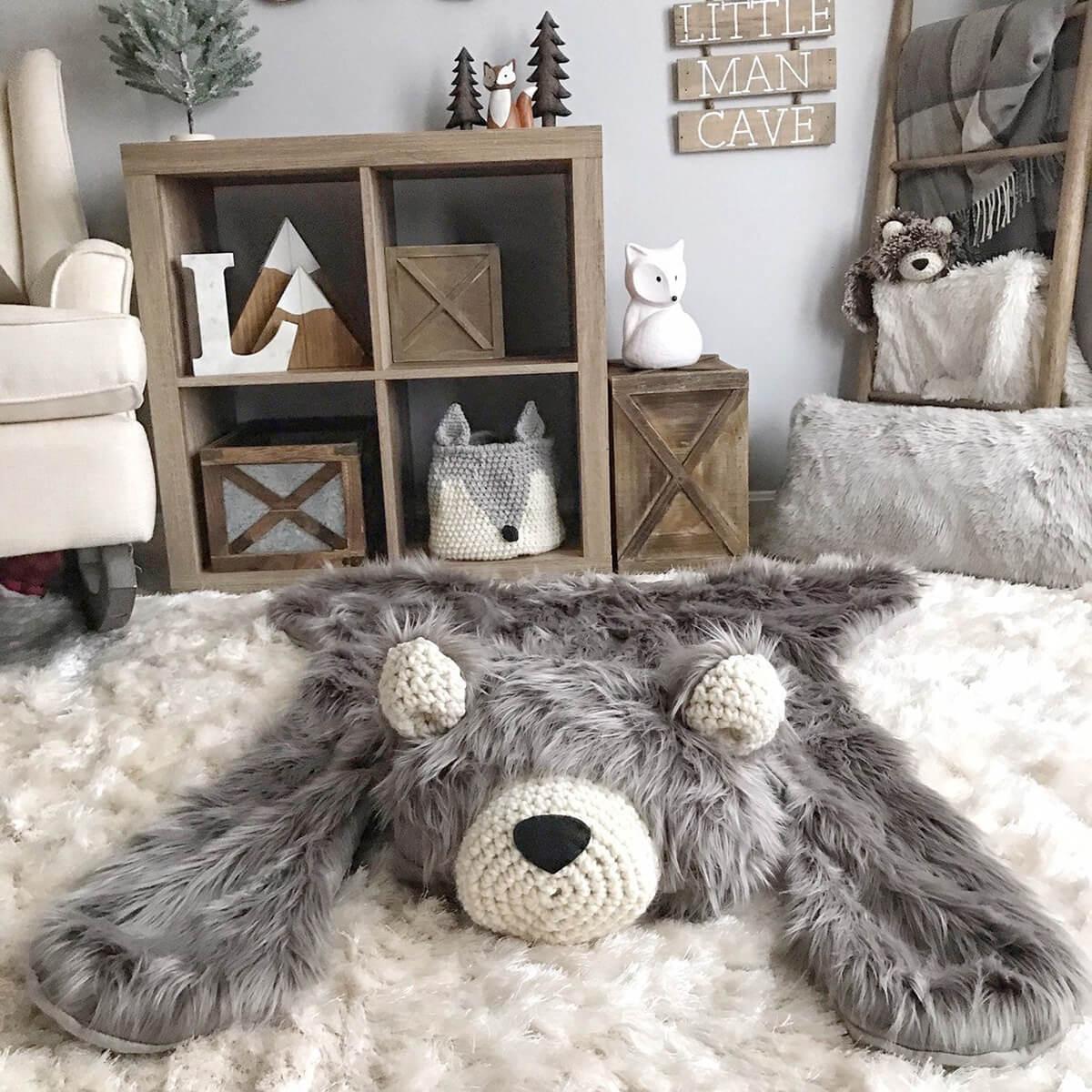 Cute Grizzly Bear Plush Rug
