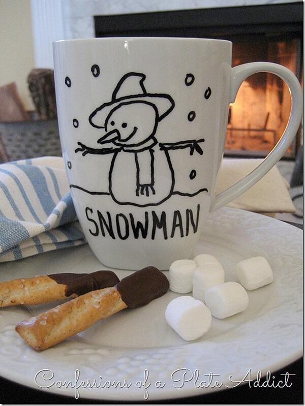 Snowman Line Drawing Winter Mug