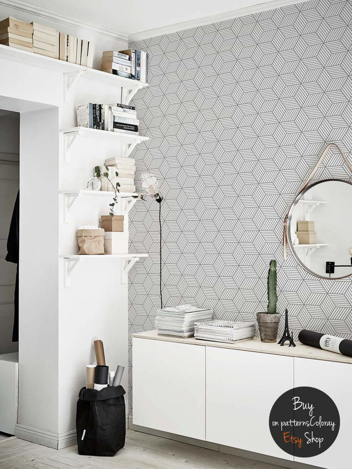 Cool Geometric-Themed Black and White Room