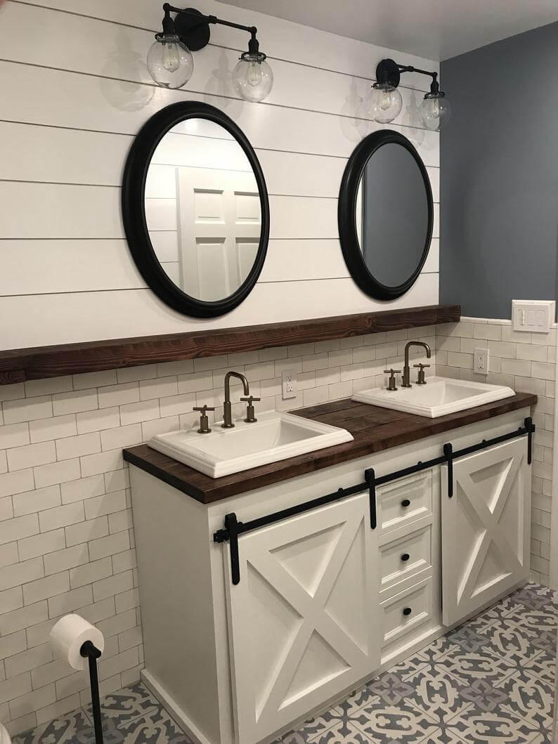 Black and White Rustic Double Vanity Bathroom