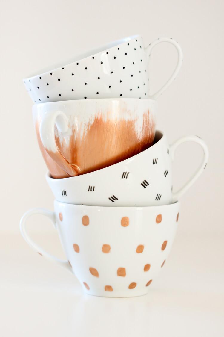 Patterned Set of Four Custom Mugs