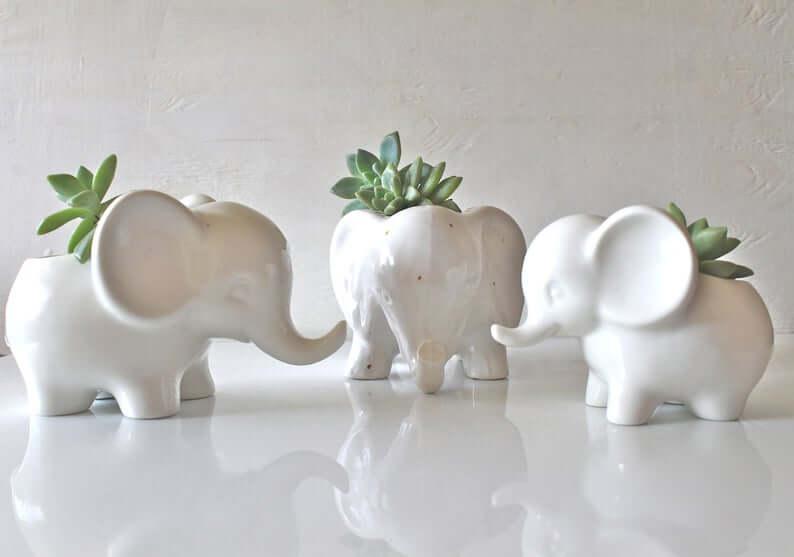 Mini Elephant Ceramic Decor Planters