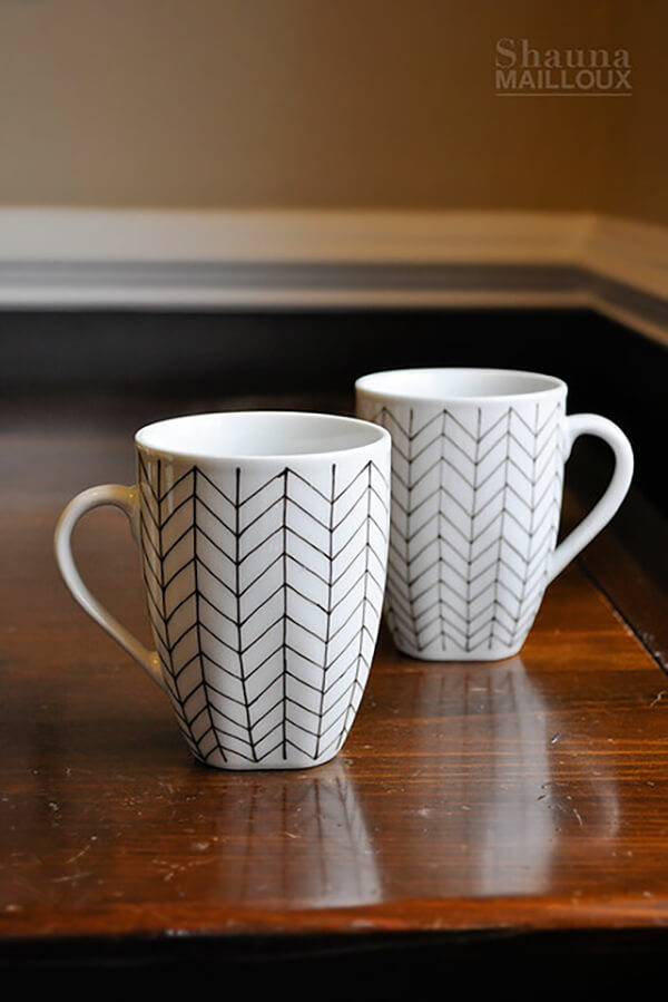 Fine Hand-Drawn Chevron Pattern on Square Mug