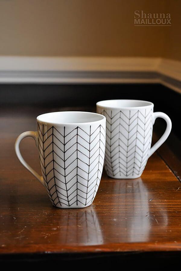 Fine Hand-Drawn Chevron Pattern on Square Mug