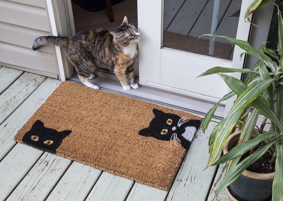 Fun Peeping Cats Hand-Woven Doormat