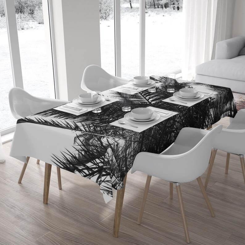 Tropical Black and White Dining Room