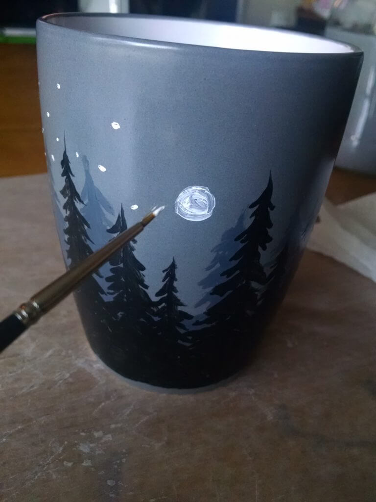Custom Mugs with Starry Mountain Scene