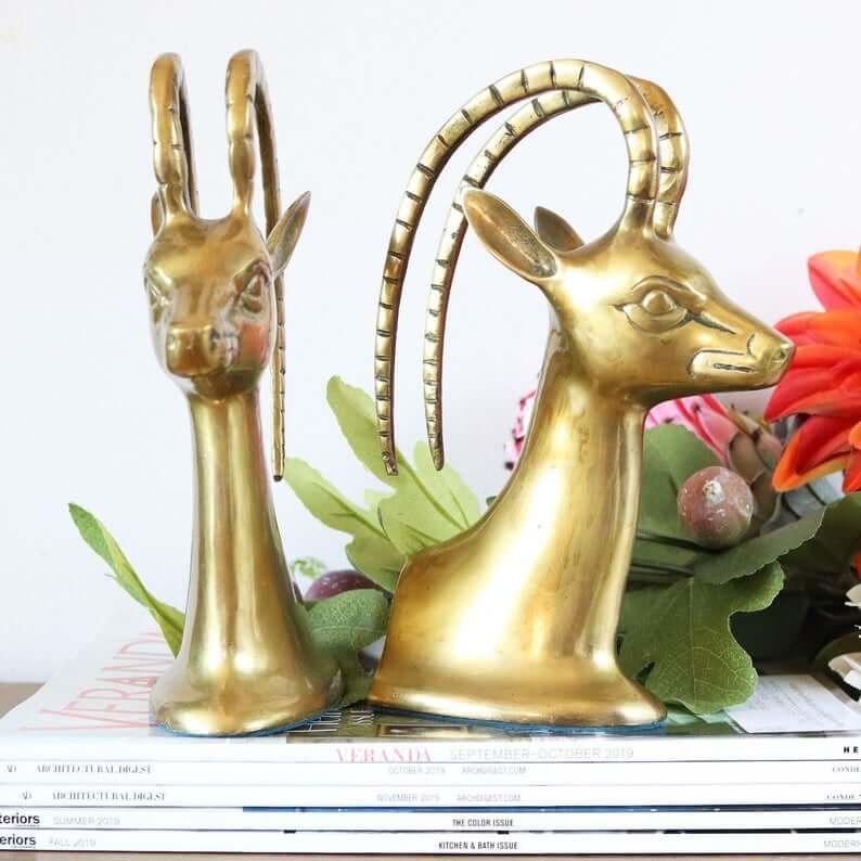 Brass Gazelle Vintage Bookend Figurines