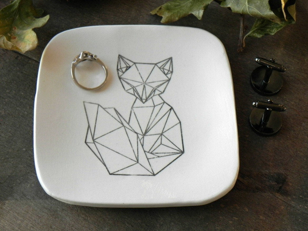 Geometric Ceramic Fox Trinket Dish