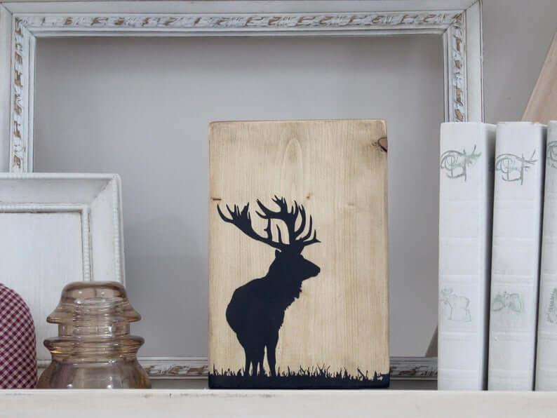 Handmade Wooden Elk Decorative Art