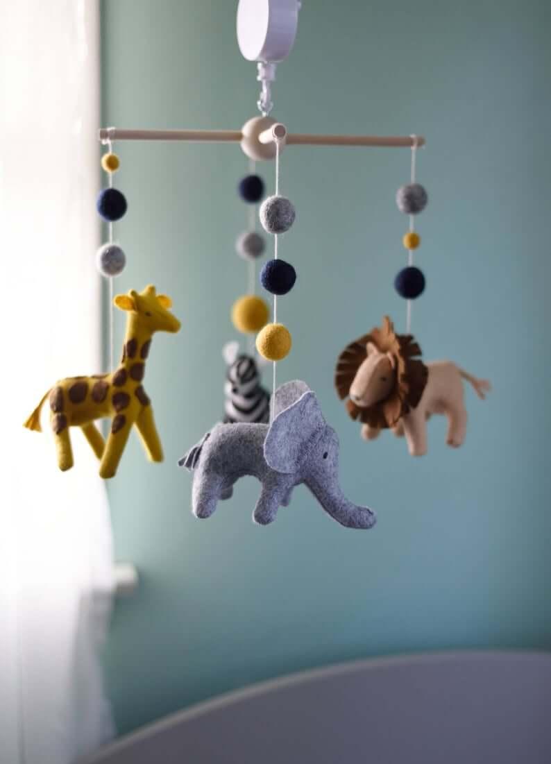 Cute Safari Theme Nursery Mobile