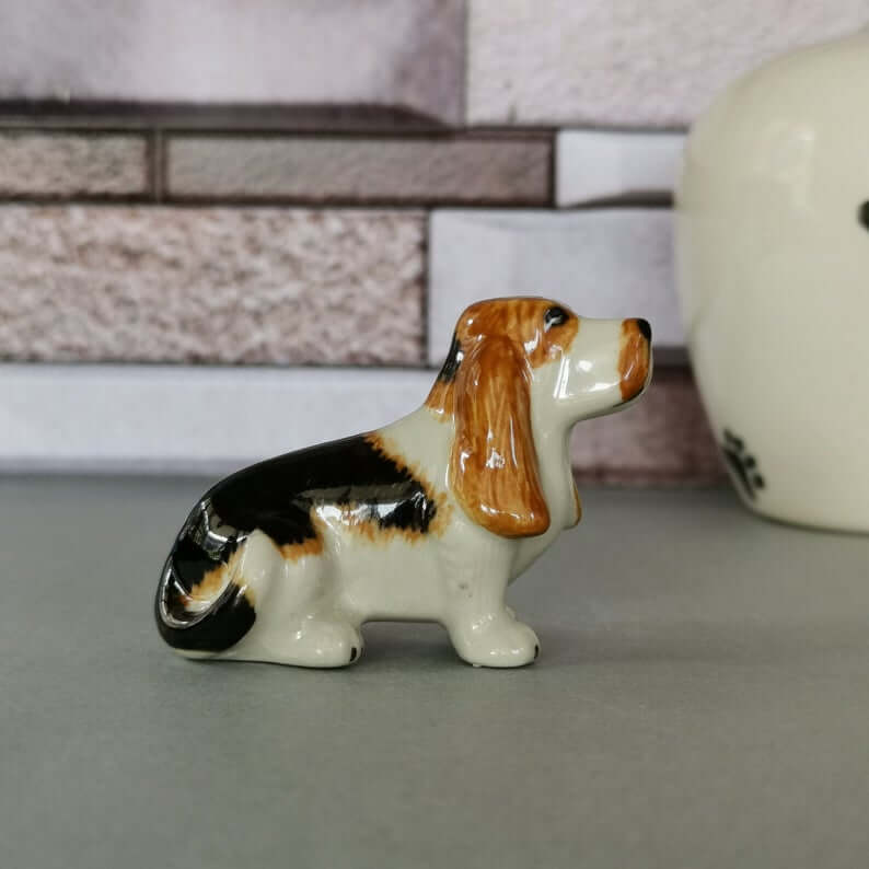 Adorable Miniature Ceramic Basset Hound