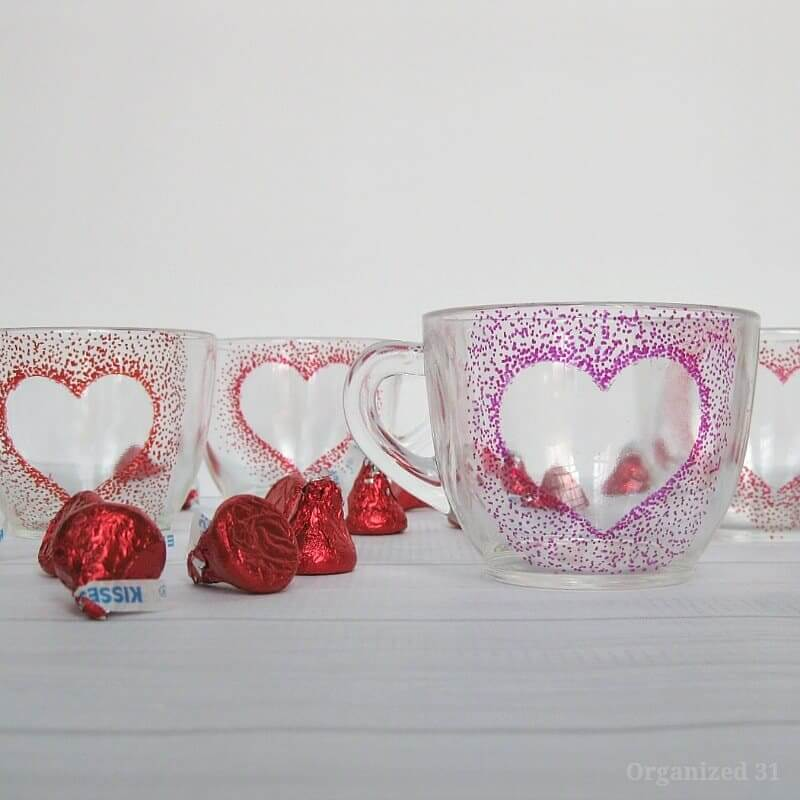 Precious Pointillism DIY Heart Mugs