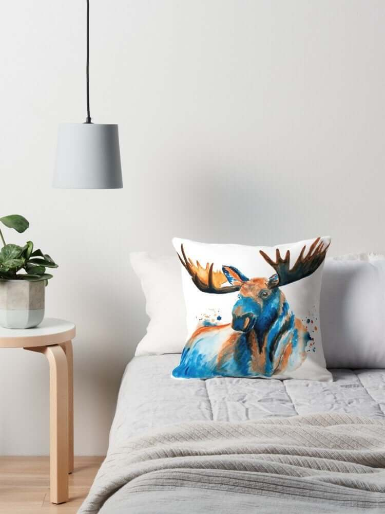 Artsy Blue Moose Throw Pillow