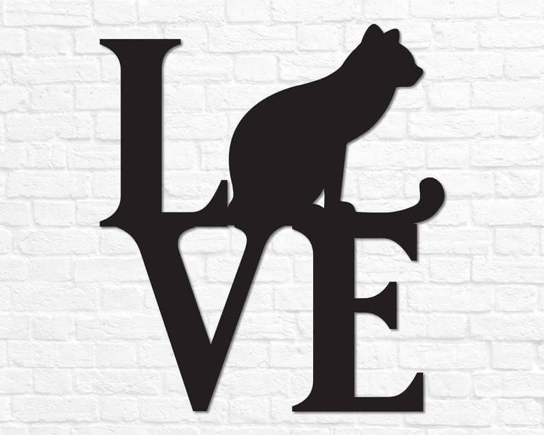 Metal Cat Love Wall Sign
