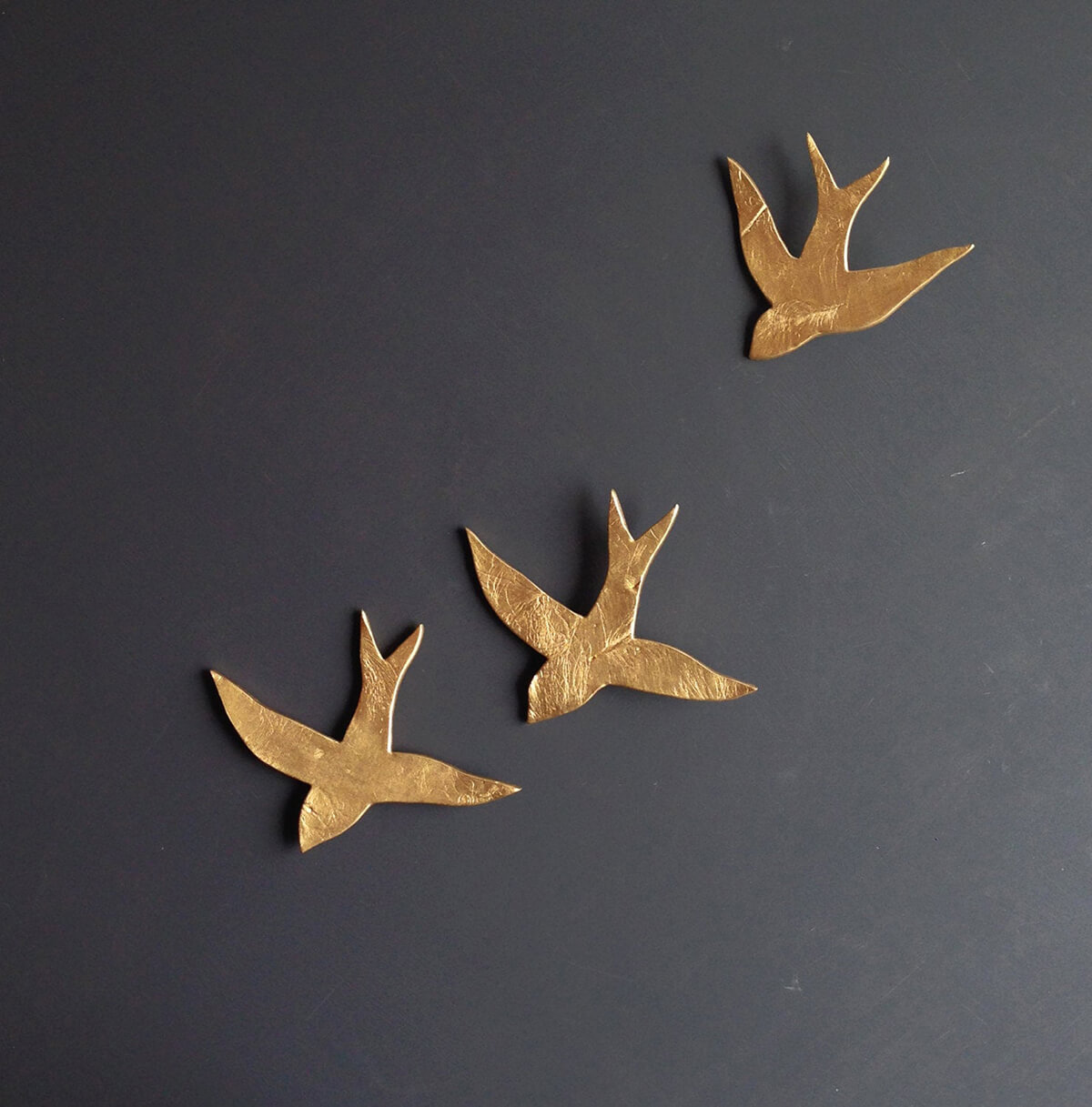 Metallic Ceramic Sculpture of Swallows