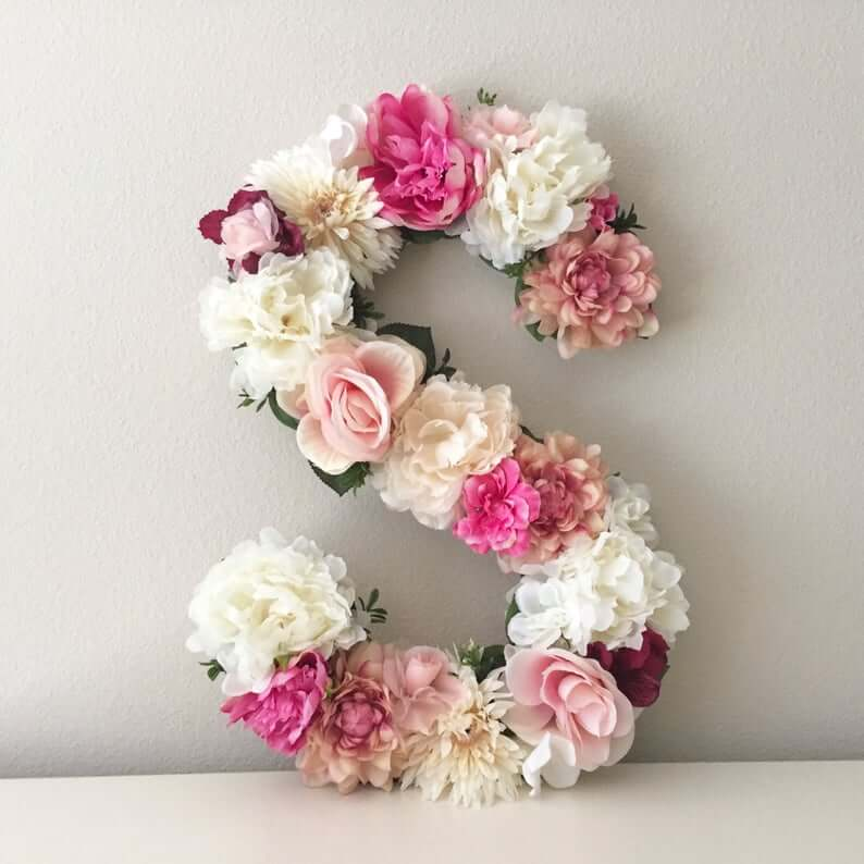 Floral Initial Shabby Chic Wall Art